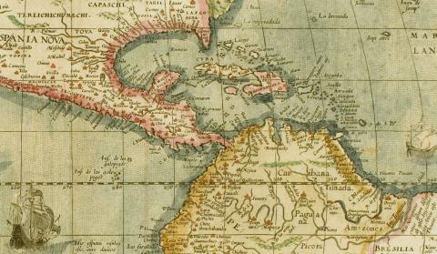Carte du nouveau monde (détail), Collection Chatillon, photo JM Arnaud, mairie de Bordeaux