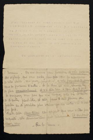 Lettre de dénonciation © mairie de Bordeaux