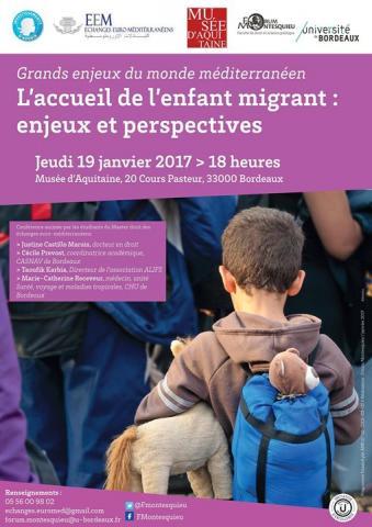 Affiche L'accueil de l'enfant migrant : enjeux et perspectives, © mairie de bordeaux