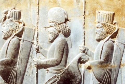 détail, bas relief, Persépolis