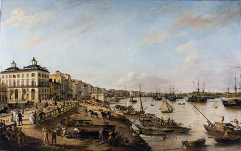 Pierre Lacour - Vue d'une partie du port et des quais de Bordeaux dits des Chartrons et de Bacalan. 1804-1806