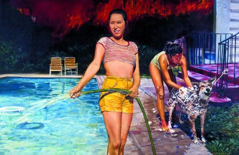 John Valadez - Pool Party, 1987 (coll. Cheech Marin) au musée d'Aquitaine Bordeaux